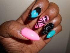 stiletto nails 2015 | Exotic Stiletto Nail Art Design 2014 With Cool Pink And Black And ...