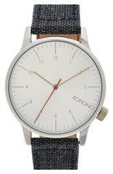Komono 'Winston' Round Dial Leather Strap Watch, 44mm
