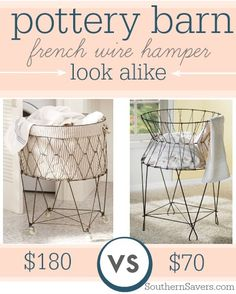 Here's a look alike for Pottery Barn's French Wire Hamper for more than $100 off!