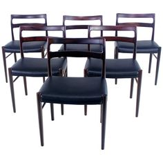 Set of Six Danish Modern Rosewood Dining Chairs Designed by Soren Willadsen | 1stdibs.com