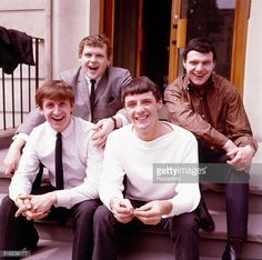 English Merseybeat pop group The Fourmost posed together in From left to right: Billy Hatton, Mike Millward, Brian O'Hara and Dave Lovelady. Get premium, high resolution news photos at Getty Images Pop Group, Liverpool, English, Memories, Poses, Couple Photos, Celebrities, Music, British