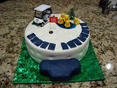 Golf theme cake. (Ducks are inside joke)