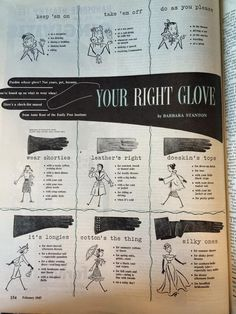 My Pretty Baby Cried She Was a Bird: Your Right Glove (When to Wear What Kinds of Vintage Gloves, 1947)