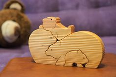 Wooden puzzle bears wood figures bear family Montessori