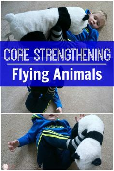 Core strengthening for kids game flying animals is so much fun. It makes core strengthening for kids easy and through play! A great kids activity! Great for gross motor skills!