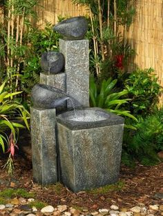 "$250 19.50 s& h  39"" h  I like the concept/look, only with REAL stones and concrete pitchers...more formal than hubby prefers"