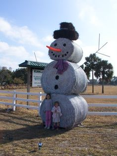 snowman hay bales i want to try this lol