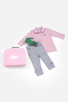 Lacoste Girl's Long Sleeve Polo and Pant Baby Gift Set : Baby