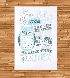 Wise Old Owl Letterpress Art Print | This hand-printed letterpress print features a whimsical owl a... | Posters