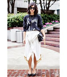 @Who What Wear - Krystal Bick of This Time Tomorrow  On Bick: Ily Couture sweater; Altuzarra skirt; Proenza Schouler PS11 Classic Leather Shoulder Bag ($1950); Prada shoes.