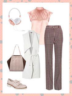 What to wear to work: Mit dieser super stylischen Pünktchenhose bringt ihr gute Laune ins Büro! Kombiniert mit einer weißen Longweste und Slippern seid ihr perfekt ausgerüstet für einen weiteren Tag im Business-Look.