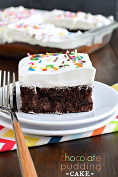 Chocolate Pudding Cake: rich, fudgy, dense chocolate cake with chocolate chips, topped with a creamy Cool Whip frosting!