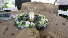 blue table bouquets