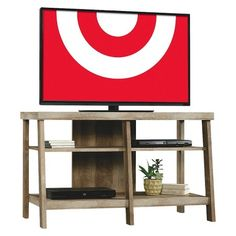 Open Shelf TV Stand (for TV's up to - Threshold, Rustic Brown Swivel Tv Stand, Diy Tv Stand, Target Tv Stand, Weathered Wood, Modern Colors, Open Shelving, Storage Shelves, Rustic Shelving, Dvd Shelves