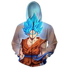 Anime Hoodie Women Dragon Ball Sweatshirts 3D Character Print Zipper Pullover Autumn Winter Hooded Zip-up Outerwear Jackets