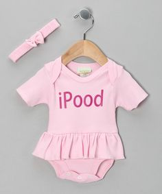 Take a look at this Pink 'iPood' Ruffle Bodysuit & Headband - Infant by PAM on #zulily today!