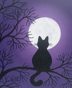 Black cat in the moonlight painting - Canvas Painting Halloween Painting, Halloween Cat, Easy Halloween Drawings, Moonlight Painting, Easy Canvas Art, Motifs Animal, Easy Paintings, Pictures To Paint, Art Plastique