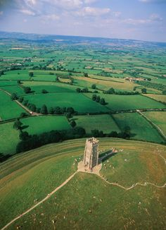 Glastonbury Tor, St Michael's Tower and the beautiful Somerset countryside, UK
