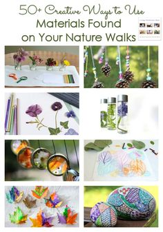 Over 50 creative ideas for using materials found on nature walks; nature crafts and activities for a variety of ages at home or in the classroom - Living Montessori Now Nature Activities, Outdoor Activities For Kids, Creative Activities, Creative Kids, Outdoor Learning, Montessori Classroom, Montessori Activities, Toddler Activities, Montessori Homeschool