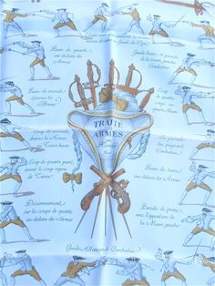 Art of Fencing - Full Carre Hermes Silk Scarf available at Villa Collezione on Etsy