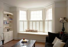 Cafe Style Shutters for Bay Windows : Blinds & shutters by Plantation Shutters Ltd Living Room Windows, Home Living Room, Living Room Decor, Dining Room, Cafe Style Shutters, Interior Window Shutters, Window Shutters Inside, White Shutters, Windows