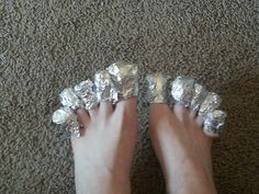 Easy way to get sparkly polish off toes (or fingers): just soak cotton ball in polish remover and place one on each toe. Wrap in tin foil and wait a few min. Remove and the polish is gone. Works for gel polish too.