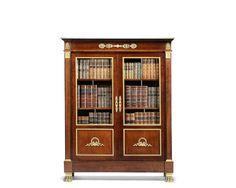 A French Empire ormolu-mounted mahogany vitrine bibliothèque