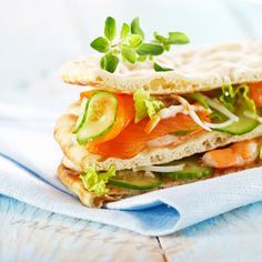 Swedish bread and smoked salmon sandwich