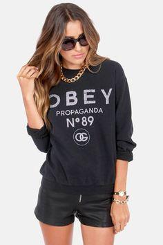 1e9f7c58c7f Obey  89 Washed Black Sweatshirt