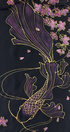 Koi Fish Discover Silk Scarf Black Koi Scarf Hand painted Silk Scarf Japan Scarf Koi Art Pink Koi fish and Cherry Blossom Takuyo Made to order Koi Painting, Fabric Painting, Black Painting, Japan Painting, Koi Art, Fish Art, Fish Drawings, Art Drawings, Koi Fish Drawing