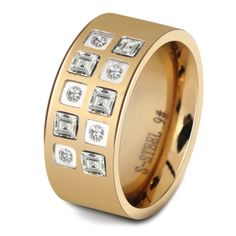 Women Wedding Band 10MM High Polished Stainless Steel Ring With Zircon Stones