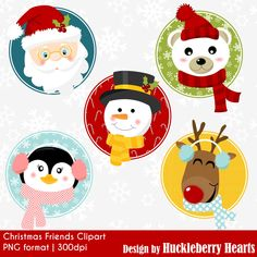 Christmas Clipart, Christmas Clip Art, Santa Clipart, Christmas Faces Clipart, Digital Christmas Clipart. These Christmas Friends clipart feature cute holiday faces of Santa, Polar Bear, Rudolph, Penguin, and Snowman. Great for all sorts of holiday and Christmas projects,
