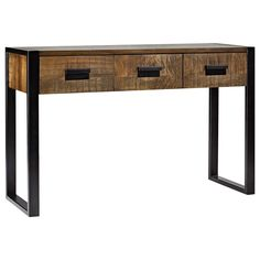 Atelier - Industrial Chic - Wood console table with metal legs 31 in high
