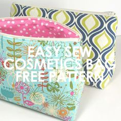 Easy Sew Cosmetics Bag.  Free pattern and video tutorial.