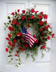 Patriotic Wreath - Summer Wreath - Of July Wreath - Wreath - Outdoor Wreath. Fourth Of July Decor, 4th Of July Decorations, July 4th, 4th Of July Wreaths, Spring Wreaths For Front Door Diy, Spring Door, Wreath Crafts, Diy Wreath, Wreath Ideas