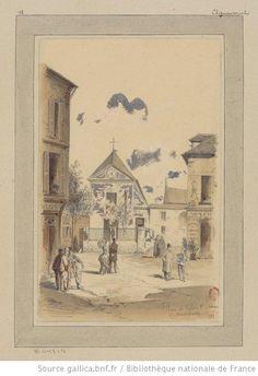 Place et Eglise St Pierre à Montmartre : 18è Clignancourt : [dessin] / JA Chauvet [Jules-Adolphe Chauvet] - 1
