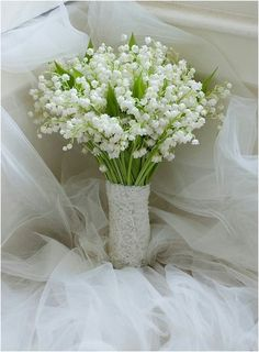 Ultra Romantic Wedding Posy/Bouquet Featuring Lily Of The Valley Hand Tied With Lace Ribbon Lily Of The Valley Bouquet, Valley Flowers, May Flowers, White Flowers, Beautiful Flowers, Lily Of The Valley Wedding Flowers, Bride Bouquets, Flower Bouquet Wedding, Beautiful Flower Arrangements