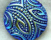 "Czech Glass Button - Black Glass Deco Inspired ""Swirls & Dots"" Textured Button w/ Blue Luster"