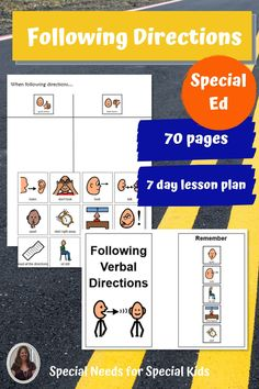 This unit on how to follow directions and pay attention was developed for students with autism and other special learning needs in elementary school. It focuses on following verbal as well as written directions. The activities are fun, engaging, and easy to differentiate. There is a 7 day lesson plan with group activities to help you make the most of these materials. Great as a back to school unit!! #specialneedsforspecialkids #backtoschool #followingdirections #specialeducation #specialed