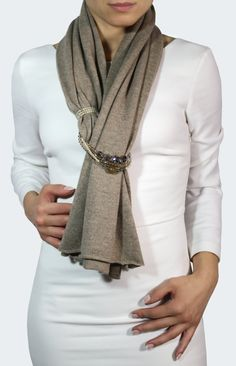 Elegant scarf, luxury scarf, handmade scarf, scarf with jewelry, cashmere wrap This is a very elegant beige cashmere jew Cashmere Wrap, Cashmere Scarf, Cashmere Color, Handmade Scarves, Handmade Jewelry, Scarf Jewelry, How To Wear Scarves, Wear A Scarf, No Sew Scarf