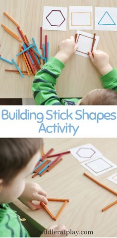 This Building Stick Shapes Activity is yet another super easy and quick to set-up activity that will literally require less than 5 minutes of prep and only a few basic materials.  #buildingsticks #shapesactivity