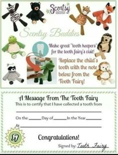 Scentsy Tooth Fairy Idea Contact me for all of your Scentsy needs!   Rebecca Woodin (573) 452.8430  https://rebeccawoodin.scentsy.us