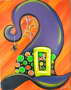 Painting Ideas On Canvas Halloween Easy Ideas Halloween Canvas Paintings, Fall Canvas Painting, Canvas Painting Projects, Halloween Painting, Autumn Painting, Easy Paintings, Halloween Art, Canvas Art, Halloween Witches