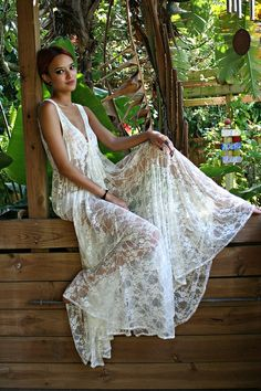 Bridal Lingerie Sheer Lace Nightgown Tie Front Waterfall Gown Wedding Sleepwear Honeymoon White Ivory Lace by Janny Dangerous