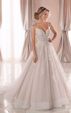 Dream Wedding Dresses Lace Sparkly Ballgown with Glitter Tulle - Stella York Wedding Dresses.Dream Wedding Dresses Lace Sparkly Ballgown with Glitter Tulle - Stella York Wedding Dresses Wedding Dresses With Straps, Cute Wedding Dress, Princess Wedding Dresses, Best Wedding Dresses, Bridal Dresses, Tulle Ballgown Wedding Dress, Wedding Dress Sparkle, Wedding Dresses Stella York, Sparkly Wedding Dresses