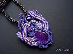 Collar purple soutache brooch Spring brooch gift for daughter Violet soutache necklace Violet galaxy pendant Ultraviolet jewelry gift