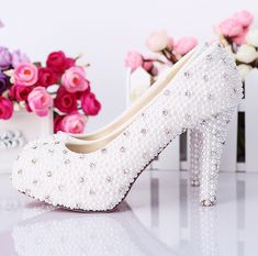 Pearl wedding shoes diamond wedding shoes crystal shoes high heels white Korean princess shoes photographed shoes, dress shoes-ZZKKO