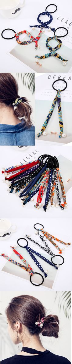 Simulated Pearls Hair Rope Ties Chiffon Plaits Elastic Rubber Hair Bands Headbands for Women Hair Accessories
