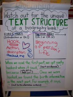 Biography Unit- biography text structure and responding to the text