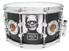 """Spaun Frankenstein 14 x 6"""" 40-ply Maple Shell Snare Drum, Solid Brass Resonator Lugs, Reinforced Vents, Double 45 Degree Bearing Edges, Frankenstein Graphics with Die Cast Hoops and Chrome Hardware."""